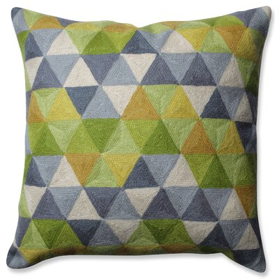 Triangle Grid Wool Throw Pillow Color: Green/Gray