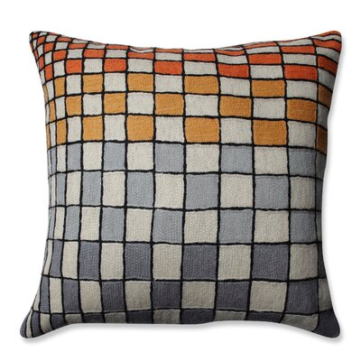 Checker Board Wool Throw Pillow Color: Gray/Orange/Cream