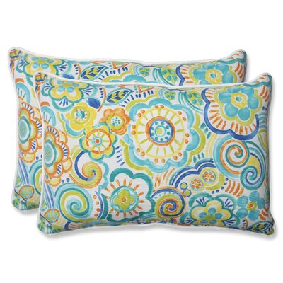 Kilroy Indoor Outdoor Lumbar Pillow Fabric: Caribbean, Size: 16.5 H x 24.5 W x 5 D