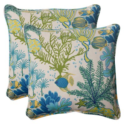 Evadne Corded Outdoor Throw Pillow Color: Cream / Green / Blue / Turquoise