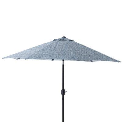 9 Herringbone Patio Market Umbrella Fabric: Blue