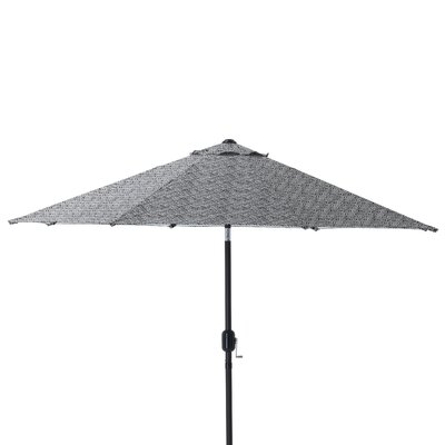 9 Herringbone Patio Market Umbrella Fabric: Black