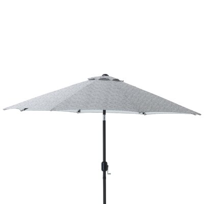 9 Herringbone Patio Market Umbrella Fabric: Gray