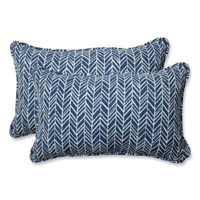 Herringbone Lumbar Pillow Fabric: Blue, Size: 16.5 H x 24.5 W x 5 D