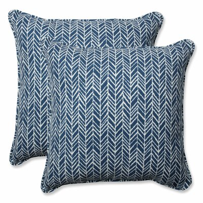 Herringbone Indoor/Outdoor Throw Pillow Color: Blue