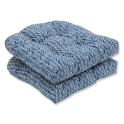 Herringbone Rocking Chair Cushion Fabric: Blue