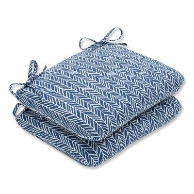 Herringbone Barstool Cushion Fabric: Blue