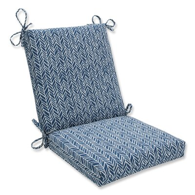 Herringbone Dining Chair Cushion Fabric: Blue