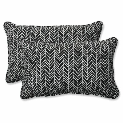 Herringbone Lumbar Pillow Fabric: Black, Size: 11.5