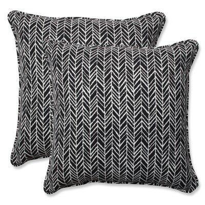 Herringbone Indoor/Outdoor Throw Pillow Color: Black