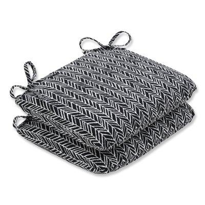 Herringbone Barstool Cushion Fabric: Black