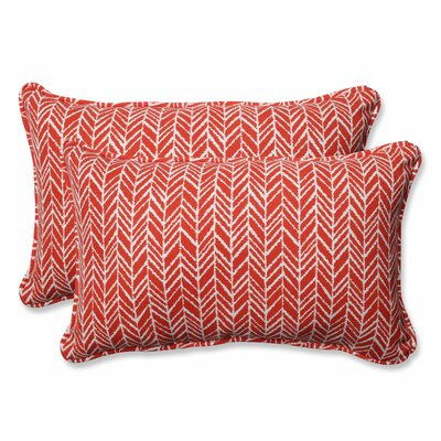Herringbone Indoor/Outdoor Lumbar Pillow Fabric: Tomato, Size: 11.5 H x 18.5 W x 5 D