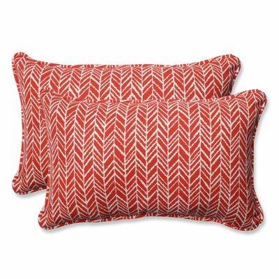 Herringbone Indoor/Outdoor Lumbar Pillow Fabric: Tomato, Size: 11.5 H x 18.5 W x 5 D