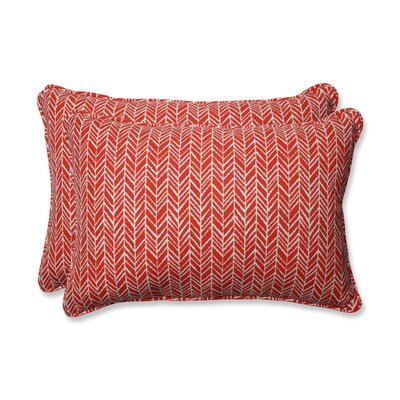 Herringbone Indoor/Outdoor Lumbar Pillow Fabric: Tomato, Size: 16.5 H x 24.5 W x 5 D