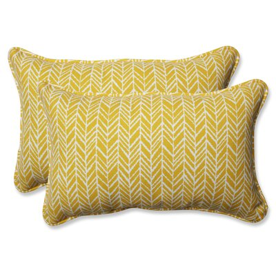 Herringbone Indoor/Outdoor Lumbar Pillow Fabric: Yellow, Size: 11.5 H x 18.5 W x 5 D