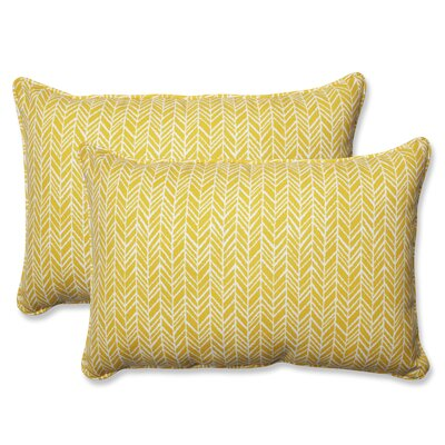 Herringbone Indoor/Outdoor Lumbar Pillow Fabric: Yellow, Size: 16.5 H x 24.5 W x 5 D