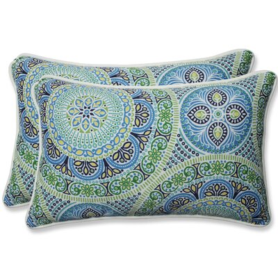 Delancey Jubilee Outdoor Lumbar Pillow Fabric: Blue/Green, Size: 11.5 H x 18.5 W x 5 D