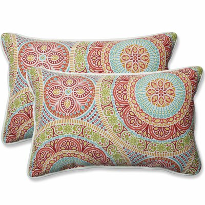 Delancey Jubilee Outdoor Lumbar Pillow Fabric: Pink/Orange, Size: 16.5 H x 24.5 W x 5 D