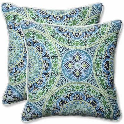 Delancey Jubilee Indoor/Outdoor Throw Pillow Fabric: Blue/Green