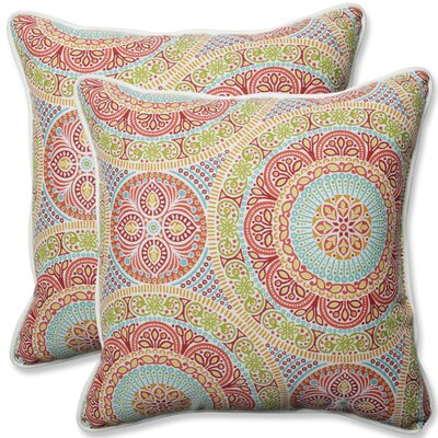 Delancey Jubilee Indoor/Outdoor Throw Pillow Fabric: Pink/Orange