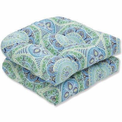 Delancey Jubilee Wicker Rocking Chair Cushion Fabric: Blue/Green
