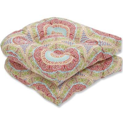Delancey Jubilee Wicker Rocking Chair Cushion Fabric: Pink/Orange