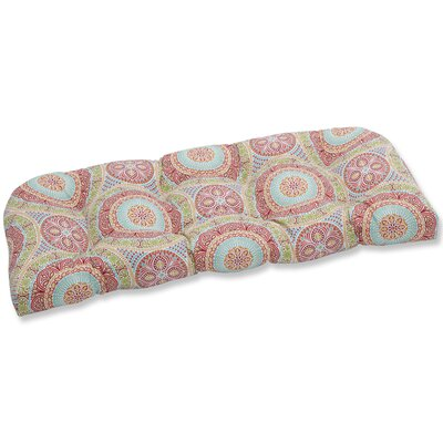 Delancey Jubilee Wicker Bench Cushion Fabric: Pink/Green