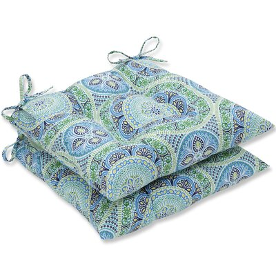 Delancey Jubilee Wrought Iron Dining Chair Cushion Fabric: Blue/Green