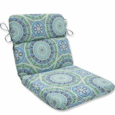 Delancey Jubilee Rounded Dining Chair Cushion Fabric: Blue/Green