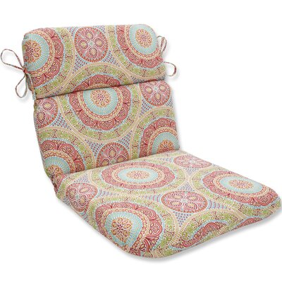 Delancey Jubilee Rounded Dining Chair Cushion Fabric: Pink/Orange