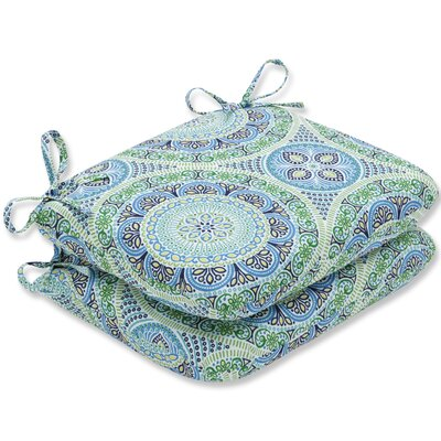 Delancey Jubilee Rounded Barstool Cushion Fabric: Blue/Green