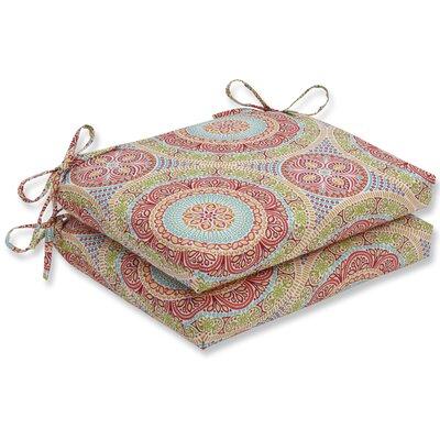 Delancey Barstool Cushion Fabric: Blue/Green, Size: 3 H x 16 W x 18.5 D