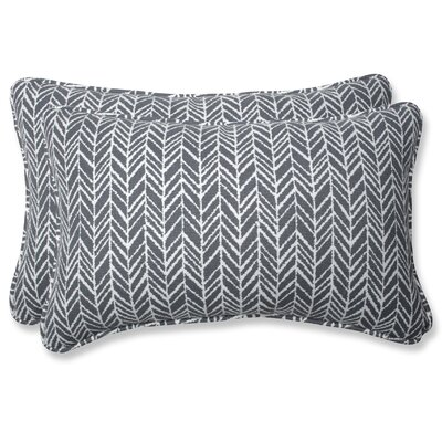 Herringbone Lumbar Pillow Fabric: Slate, Size: 11.5