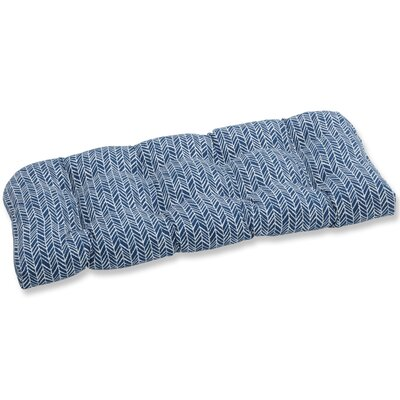 Herringbone Bench Cushion Fabric: Blue