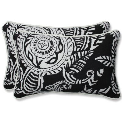 Addie Indoor/Outdoor Lumbar Pillow Fabric: Black, Size: 16.5 H x 24.5 W x 5 D