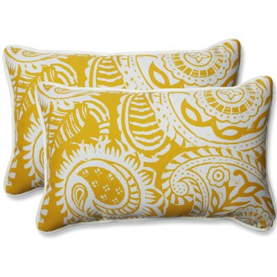 Addie Indoor/Outdoor Lumbar Pillow Fabric: Yellow, Size: 16.5 H x 24.5 W x 5 D