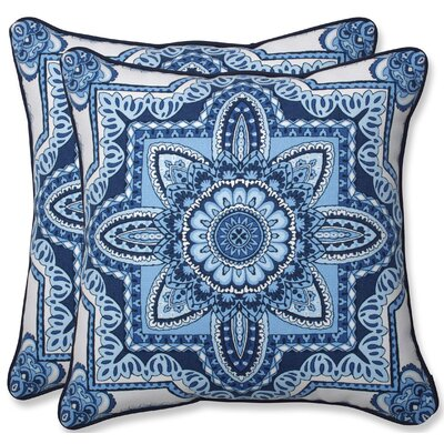 Indoor/Outdoor Throw Pillow Color: Blue/White