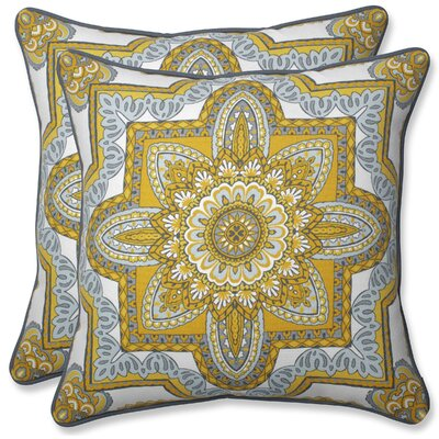 Indoor/Outdoor Throw Pillow Color: Yellow/Gray