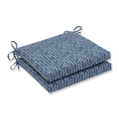 Herringbone Outdoor Barstool Cushion Fabric: Blue