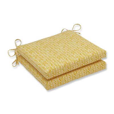 Herringbone Outdoor Barstool Cushion Fabric: Yellow