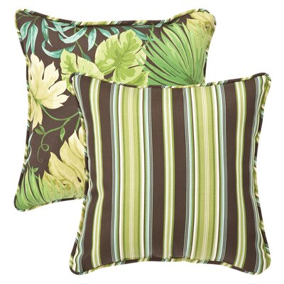 All Weather Reversible Indoor/Outdoor Throw Pillow Fabric Color: Tropique Peridot