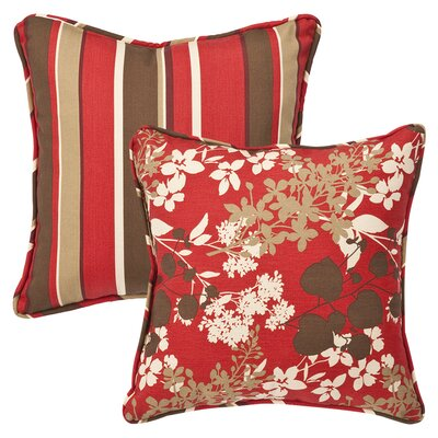 All Weather Reversible Indoor/Outdoor Throw Pillow Fabric Color: Montifleuri Sangria