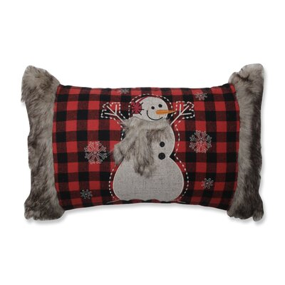 Fur Snowman Oblong Lumbar Pillow