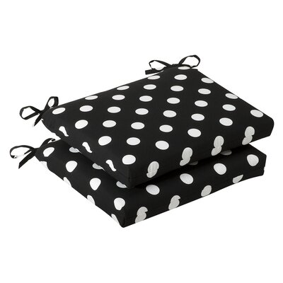 Outdoor Dining Chair Cushion Fabric: Black/White Polka Dot