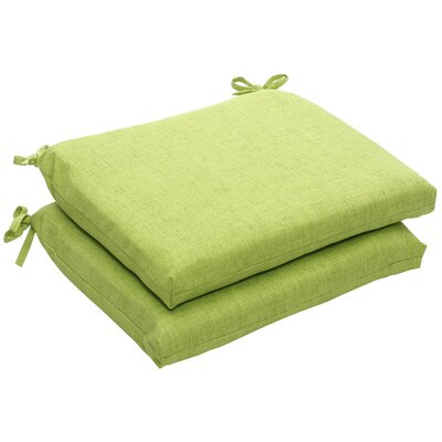 Outdoor Dining Chair Cushion Fabric: Green Textured Solid