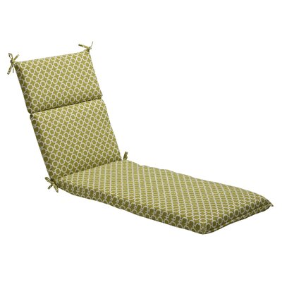 Geometric Outdoor Chaise Lounge Cushion Fabric: Green/White Geometric