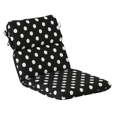 Outdoor Lounge Chair Cushion Fabric: Black/White Polka Dot