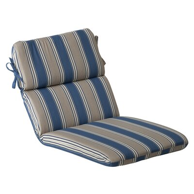 Outdoor Lounge Chair Cushion Fabric: Blue/Tan Striped