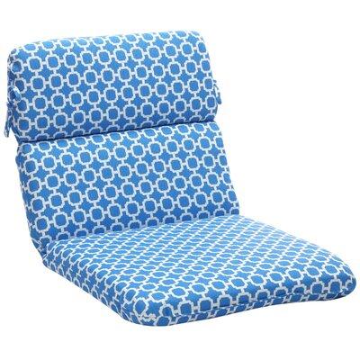Outdoor Lounge Chair Cushion Fabric: Blue/White Geometric