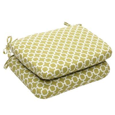 Outdoor Dining Chair Cushion Fabric: Green/White Geometric